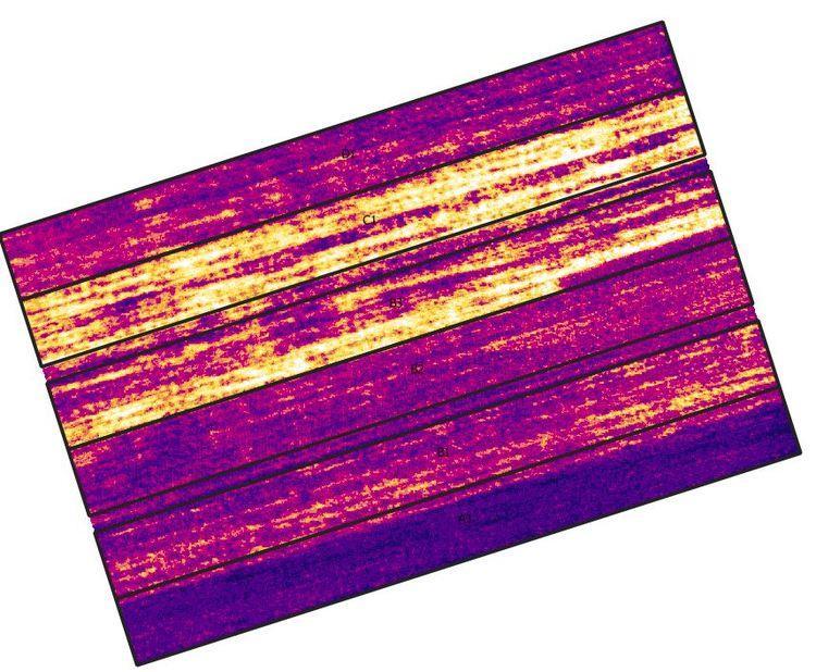 Multispektralaufnahme einer Versuchsfläche