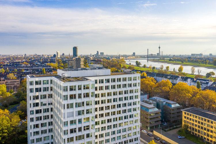 Drohnenaufnahme in Düsseldorf für fokustruppe