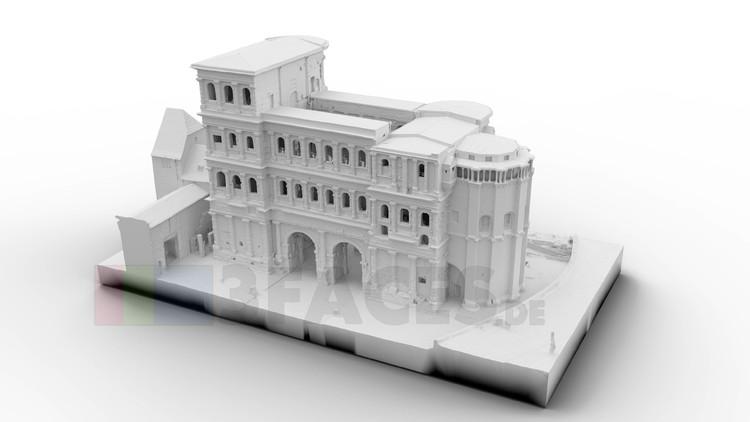 Die Porta Nigra in Trier als 3D-Scan für einen 3D-Druck.  Dieser Scan erfolgte anhand Drohnenaufnahmen und wurde dann mit Realitycapture zu einem 3D-Model berechnet.  Das Model zur Ansicht:  https://skfb.ly/6YYYW